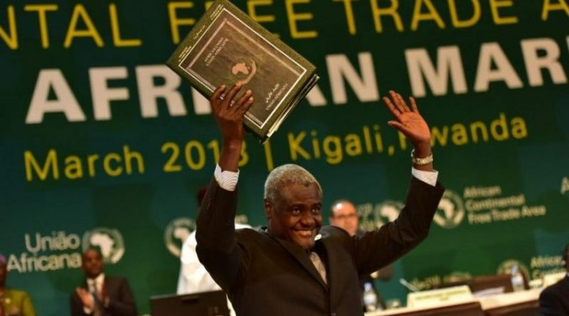 AUC Chairperson Moussa Faki Mahamat could not hide his joy after 44 African leaders signed the deal in March 2018
