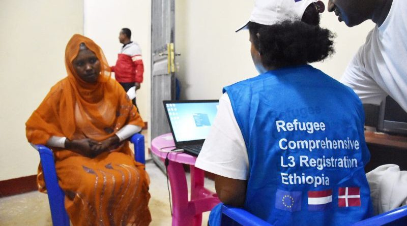 Refugees being registered at the one-stop-shop in Bambasi refugee camp. (Photo UNHCR/Helle Degn)